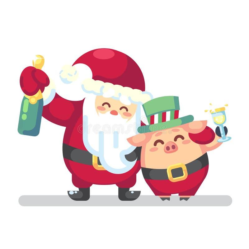 Símbolo de la Feliz Navidad del Año Nuevo 2019 Santa Claus con champán, vidrio, árboles de navidad caramelo de la tostada, dulces stock de ilustración