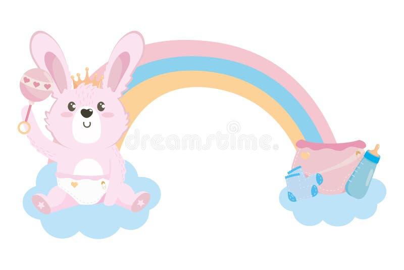 Símbolo de la fiesta de bienvenida al bebé y diseño del conejo ilustración del vector