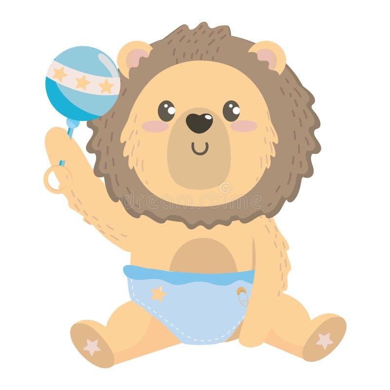 Símbolo de la fiesta de bienvenida al bebé y diseño del león stock de ilustración