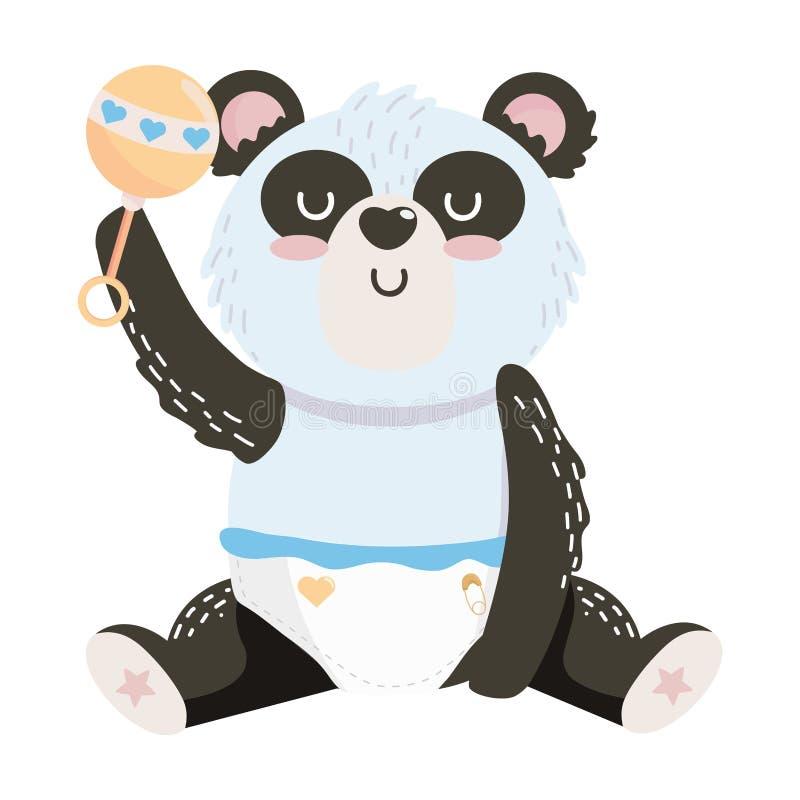 Símbolo de la fiesta de bienvenida al bebé y diseño de la panda stock de ilustración