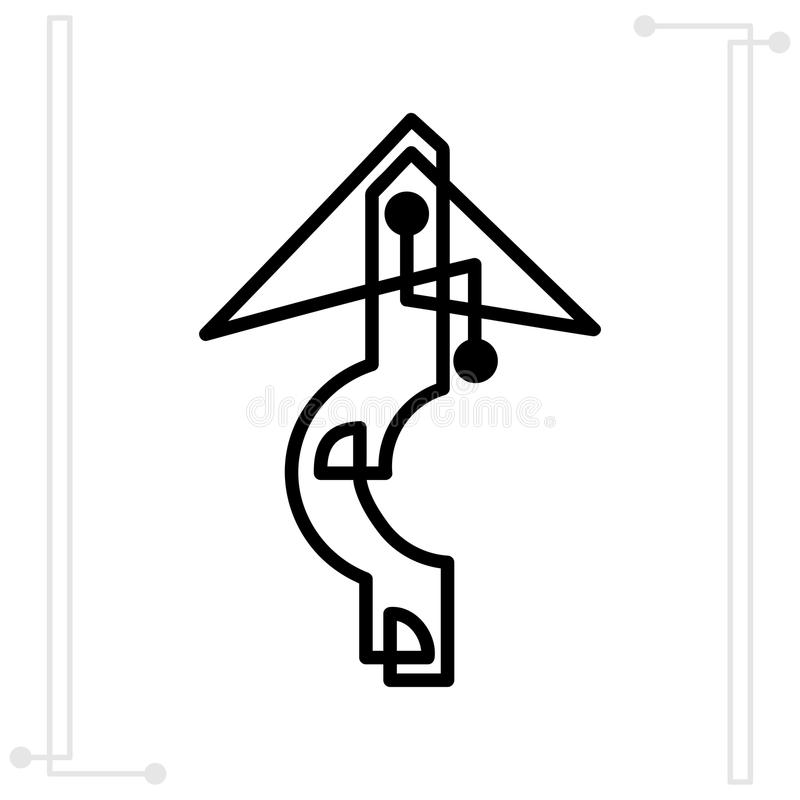 Símbolo de la flecha creado por una línea recta flecha continua stock de ilustración