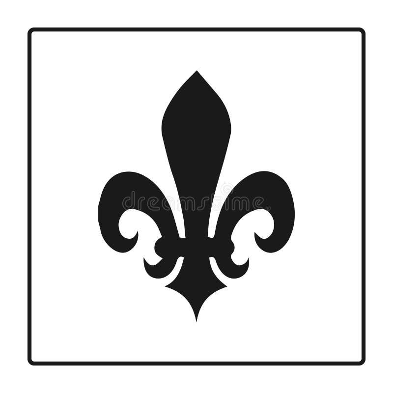 Símbolo de la flor de lis, silueta - símbolo heráldico Ilustración del vector Muestra medieval Lirio real de la flor de lis franc stock de ilustración