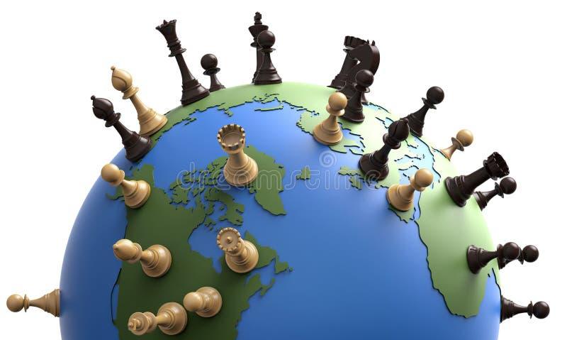 Símbolo de la geopolítica el globo del mundo con los pedazos de ajedrez ilustración del vector