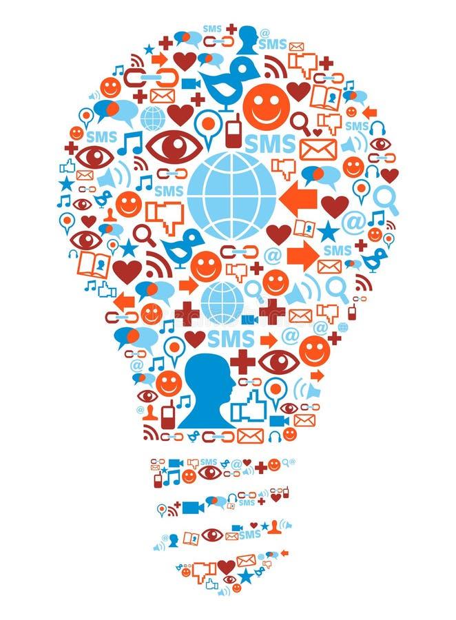 Símbolo de la lámpara en iconos sociales de la red de los media stock de ilustración