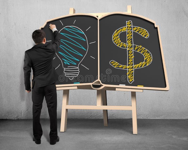 Símbolo de la lámpara y del dinero del dibujo en la pizarra ilustración del vector