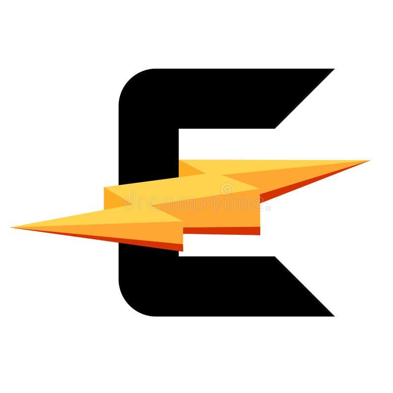 Símbolo de la letra E con el rayo ilustración del vector