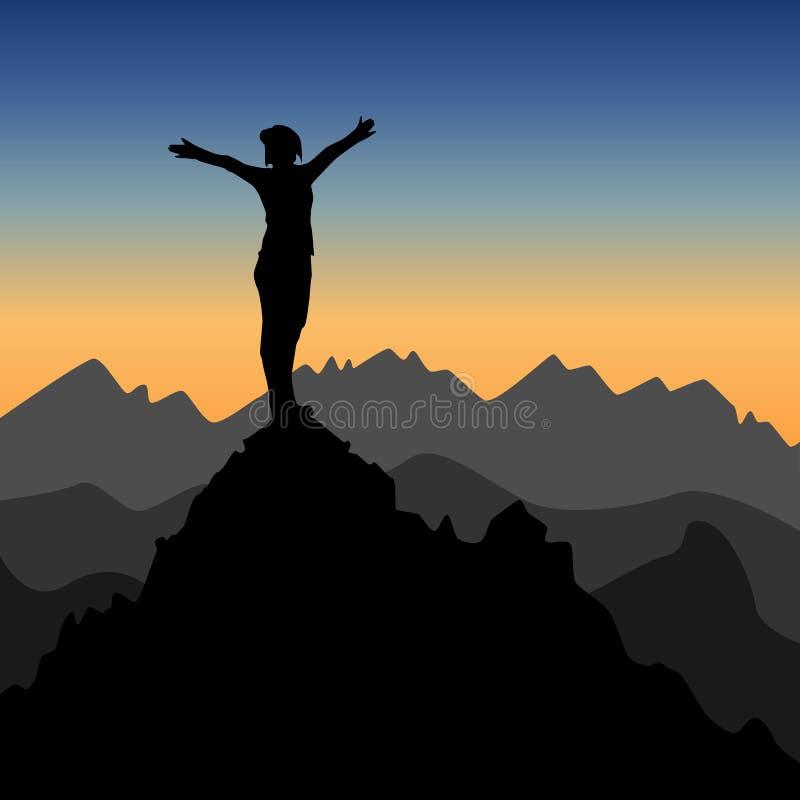 Símbolo de la libertad, del éxito y de la victoria stock de ilustración