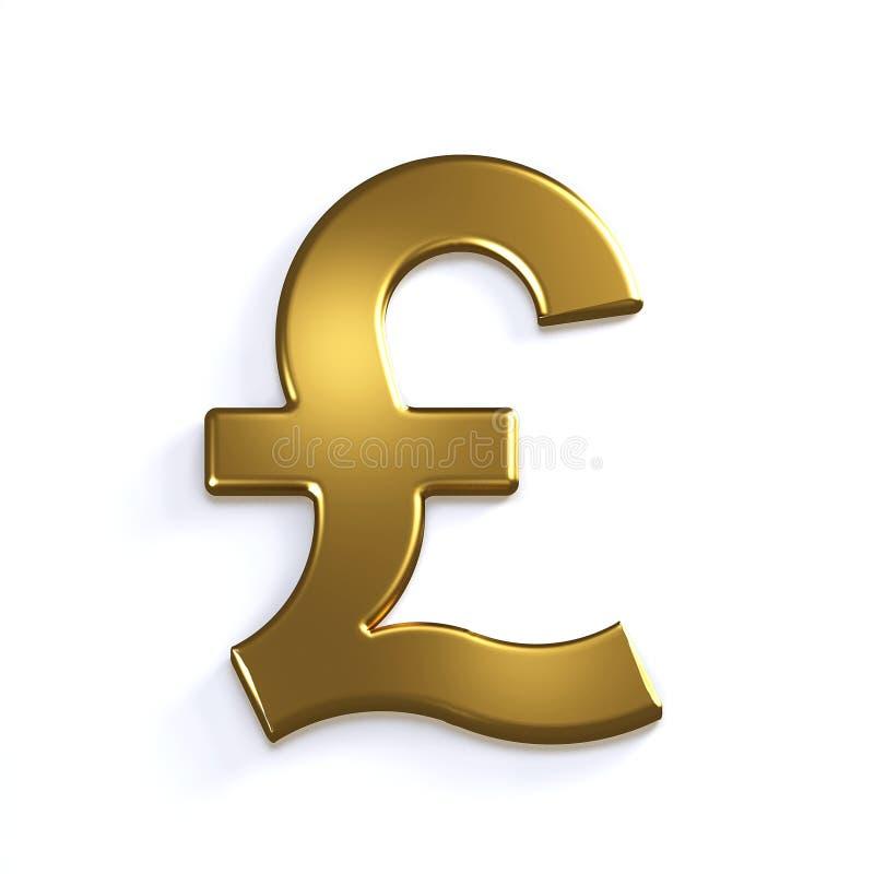 Símbolo de la libra del oro 3d rinden la ilustración ilustración del vector