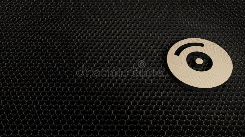 símbolo de la madera contrachapada del corte del laser del disco compacto imagen de archivo libre de regalías
