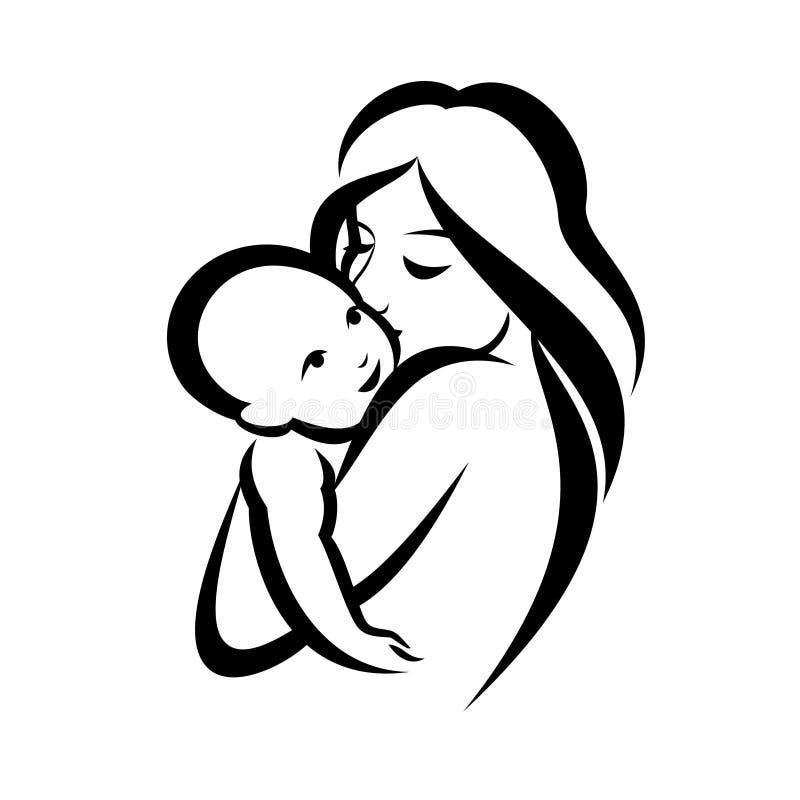 Símbolo de la madre y del bebé stock de ilustración