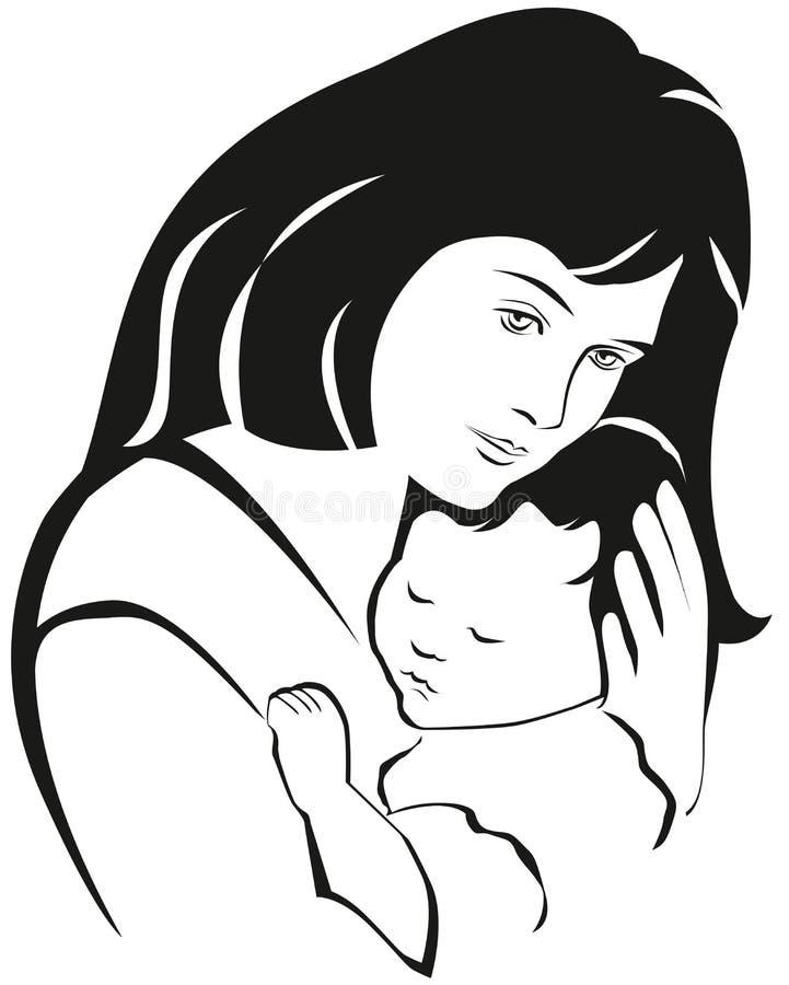 Símbolo de la madre y del bebé, silueta dibujada mano Día de madres feliz stock de ilustración