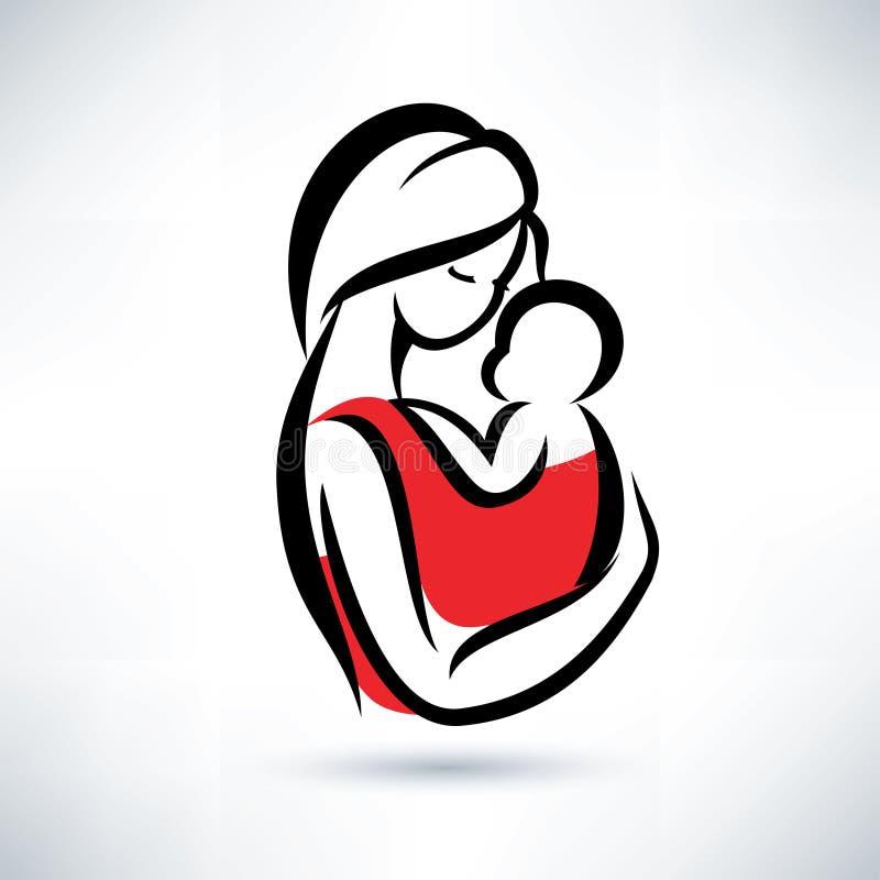 Símbolo de la mamá y del bebé ilustración del vector