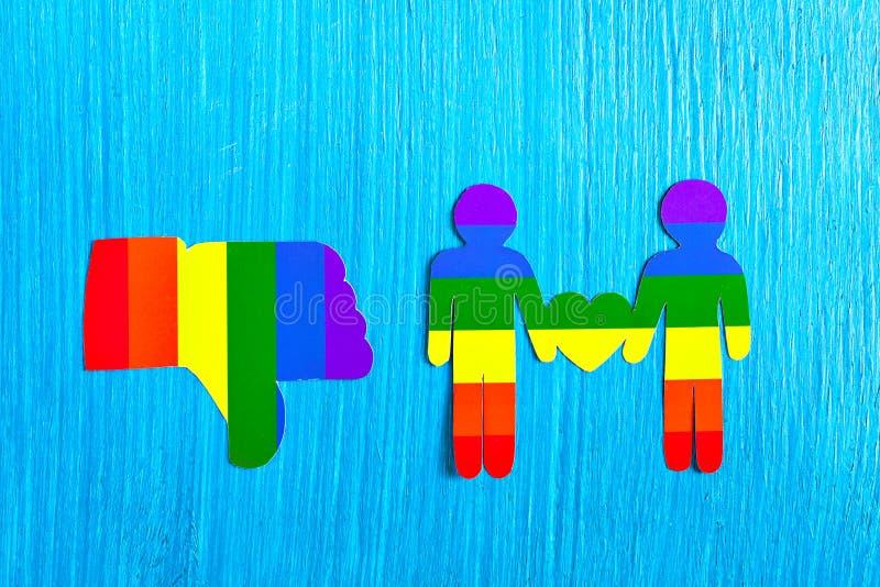 Símbolo de la mano de la aversión Pulgar de la muestra abajo Relaciones homosexuales fotos de archivo libres de regalías