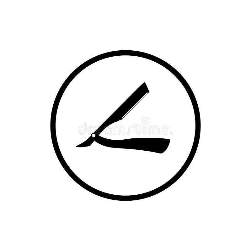 Símbolo de la maquinilla de afeitar recta Icono de la barbería ilustración del vector