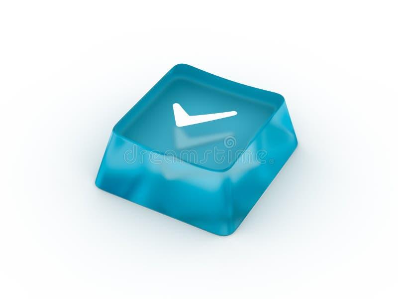 Símbolo de la marca de verificación en el botón del teclado representación 3d stock de ilustración
