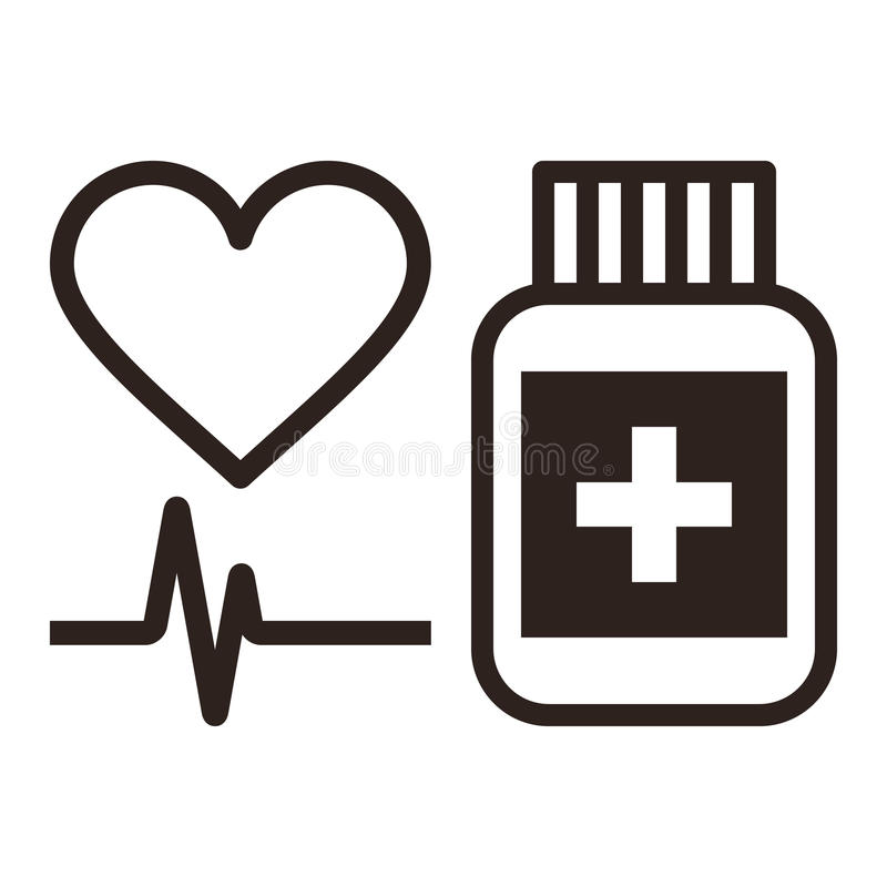 Símbolo de la medicina, del corazón y del ecg ilustración del vector