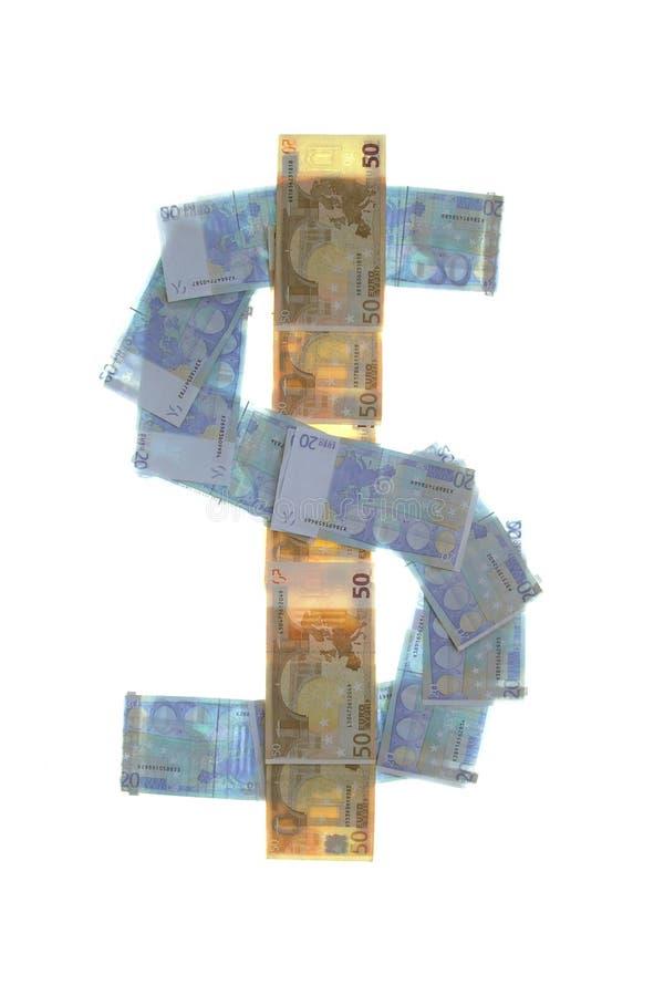 Símbolo de la muestra de dólar hecho de euros foto de archivo