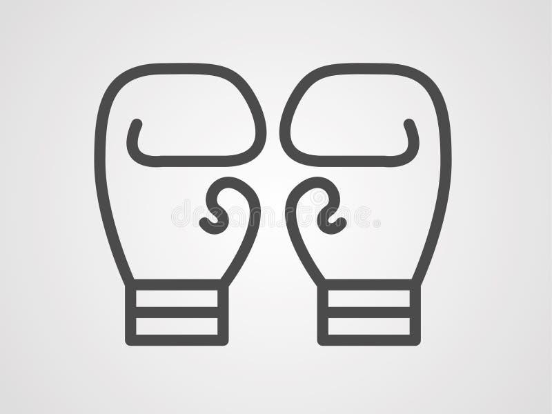 Símbolo de la muestra del icono de los guantes de boxeo stock de ilustración