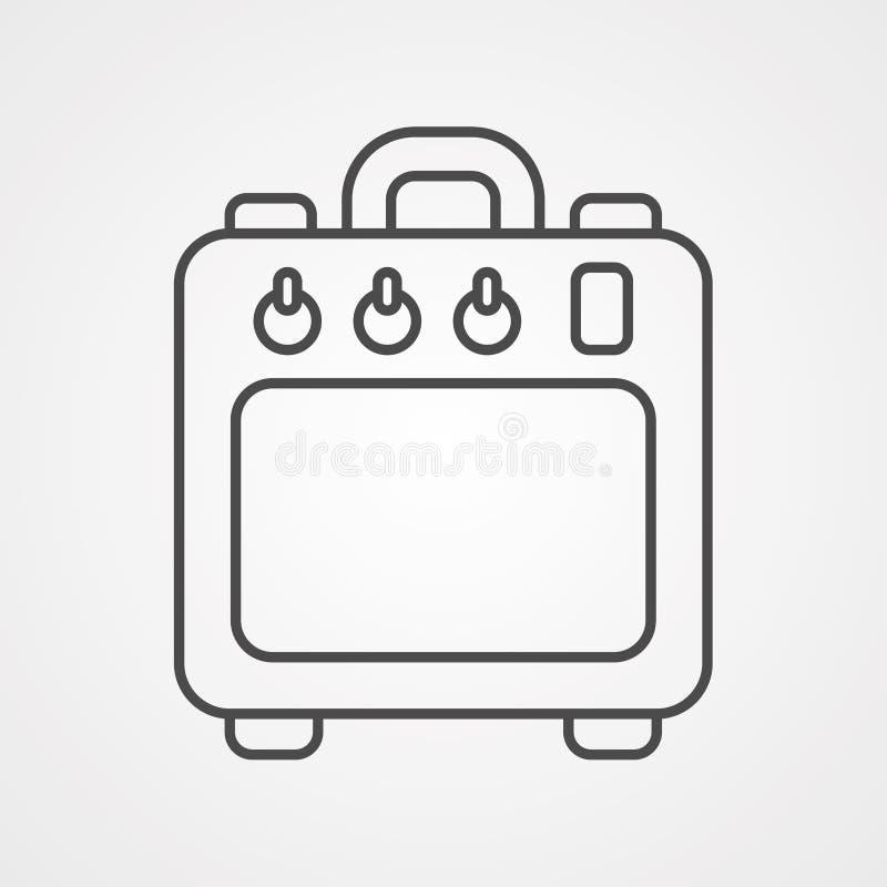 Símbolo de la muestra del icono del vector del amplificador ilustración del vector