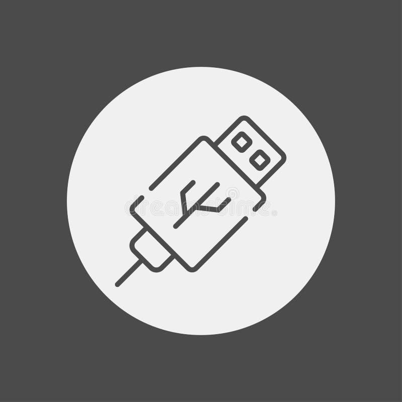 Símbolo de la muestra del icono del vector del cable del Usb ilustración del vector