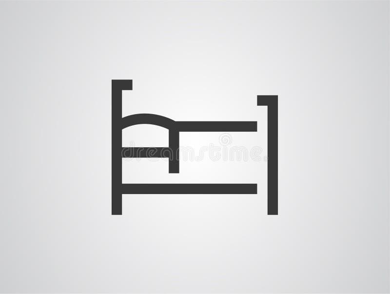 Símbolo de la muestra del icono del vector de la cama ilustración del vector