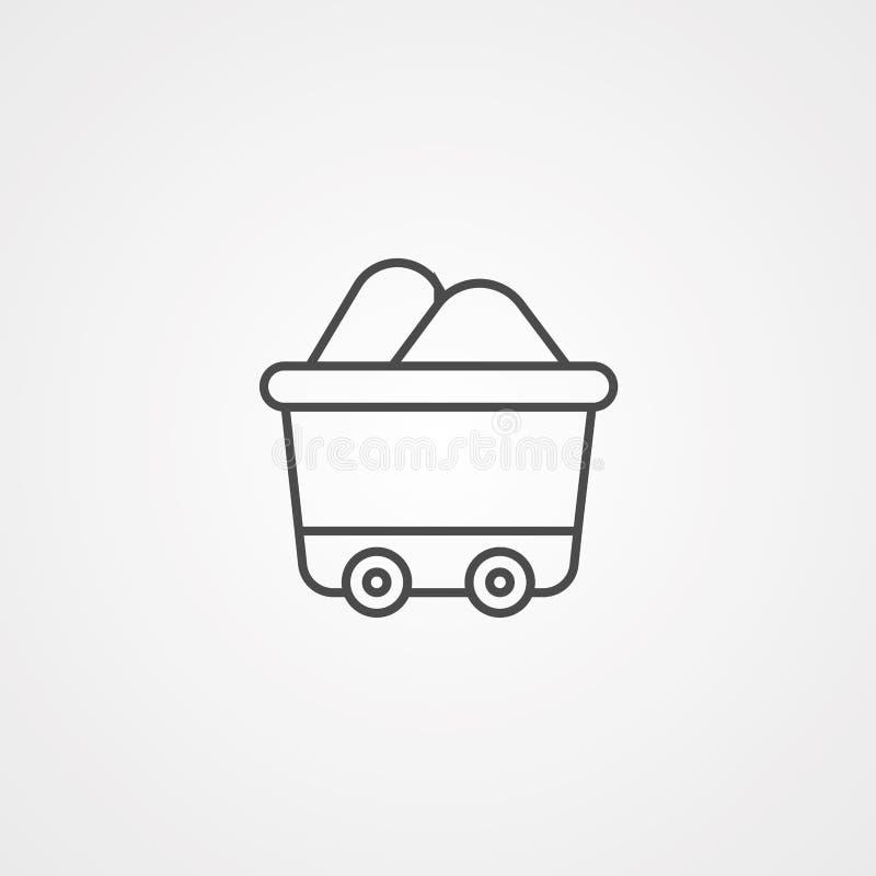 Símbolo de la muestra del icono del vector del carro ilustración del vector