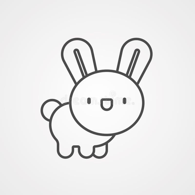 Símbolo de la muestra del icono del vector del conejito stock de ilustración