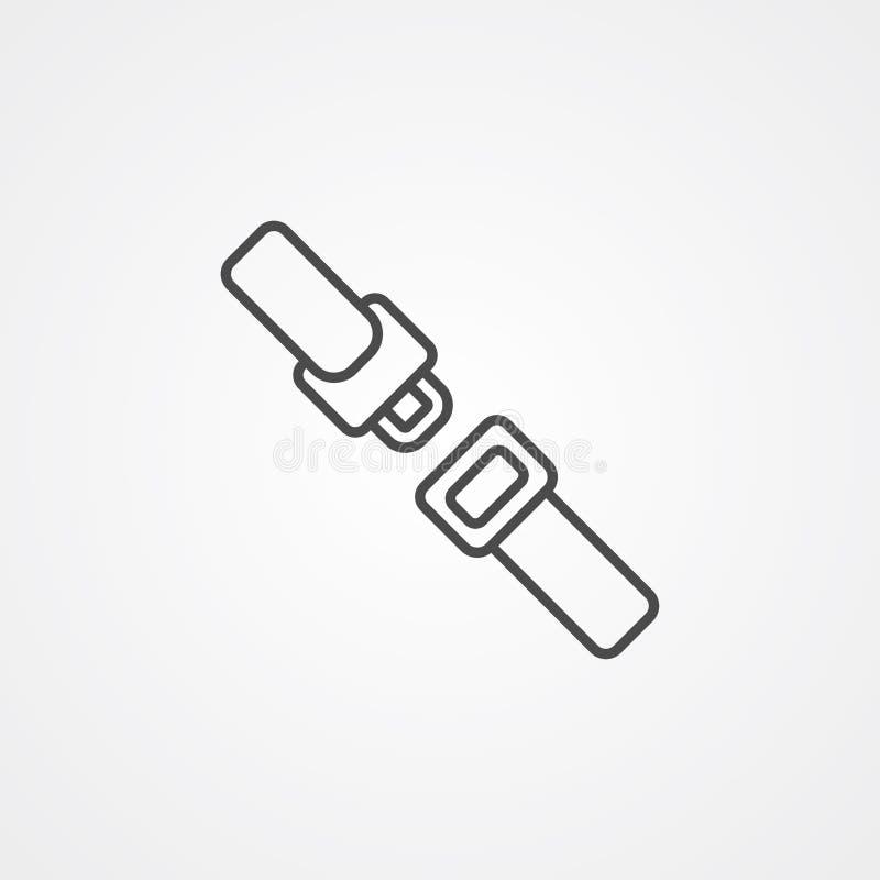 Símbolo de la muestra del icono del vector de la correa del asiento de carro ilustración del vector