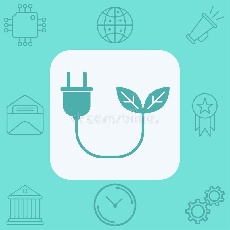 Símbolo de la muestra del icono del vector de la energía de la biomasa ilustración del vector