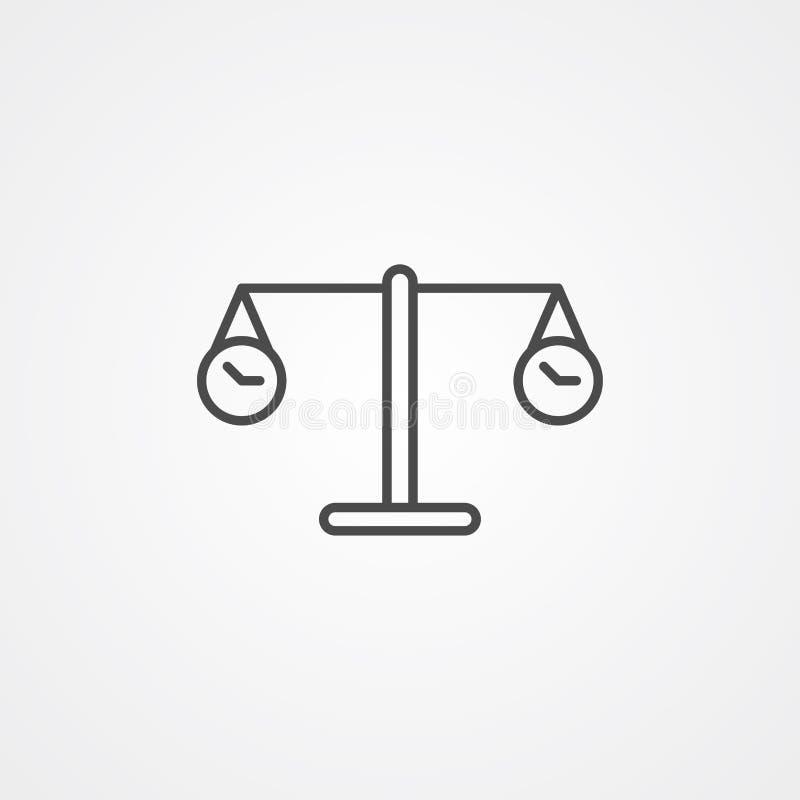 S?mbolo de la muestra del icono del vector de la escala de la balanza del tiempo stock de ilustración