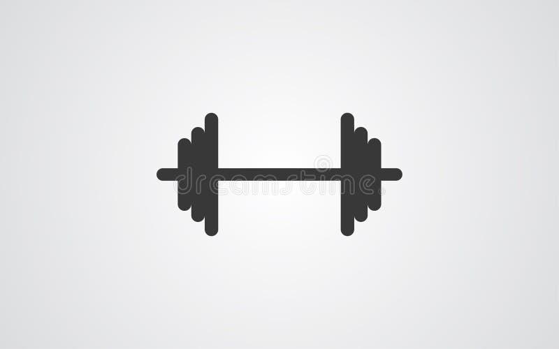 Símbolo de la muestra del icono del vector de la pesa de gimnasia stock de ilustración