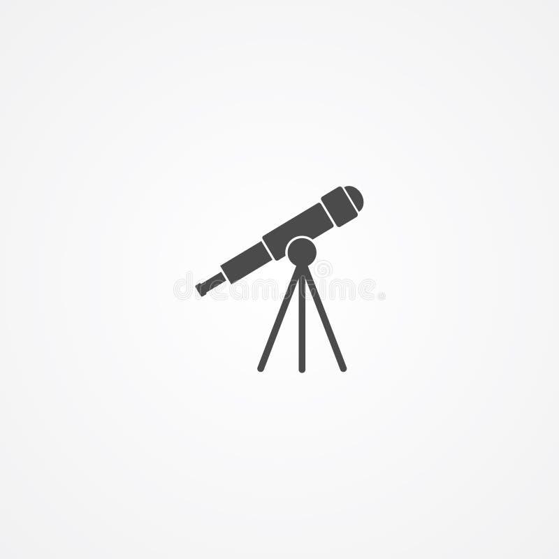 Símbolo de la muestra del icono del vector del telescopio stock de ilustración