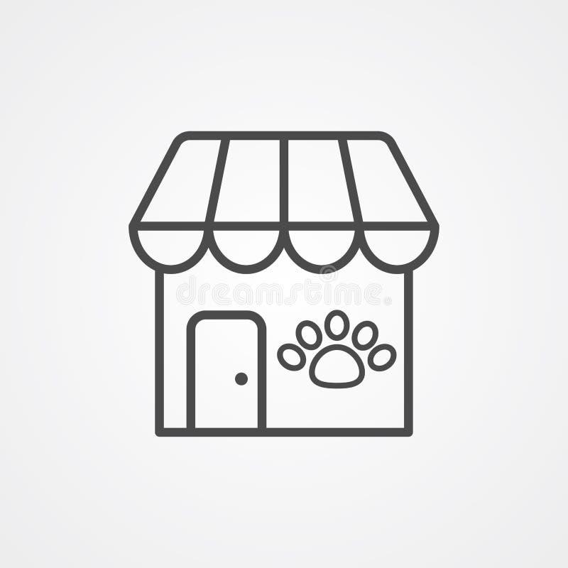 Símbolo de la muestra del icono del vector de la tienda de animales stock de ilustración
