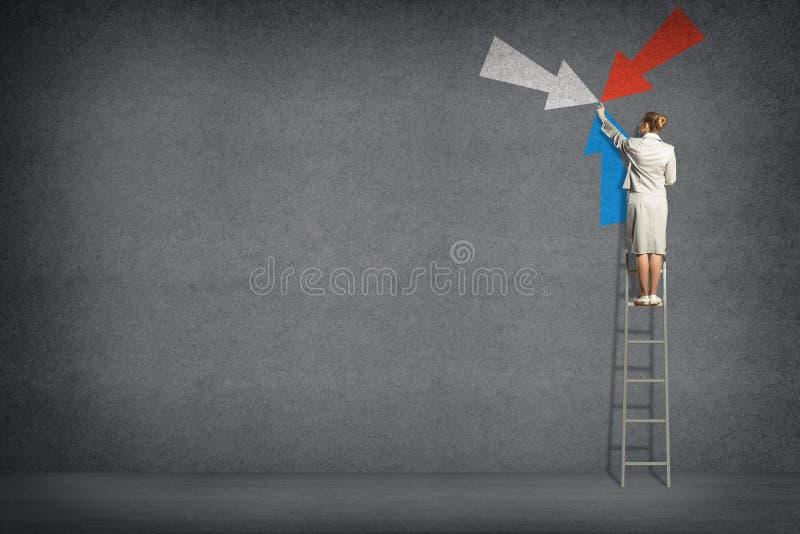 Símbolo de la mujer de negocios de las flechas en la pared imagen de archivo libre de regalías