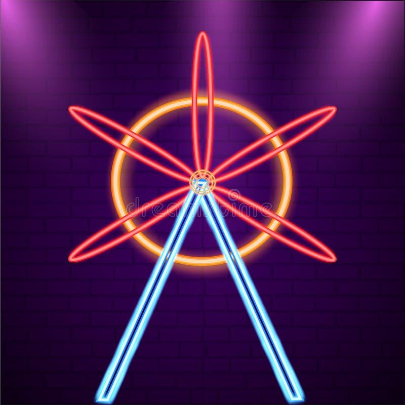 Símbolo de la noria de la luz de neón con la pared de ladrillo púrpura ilustración del vector