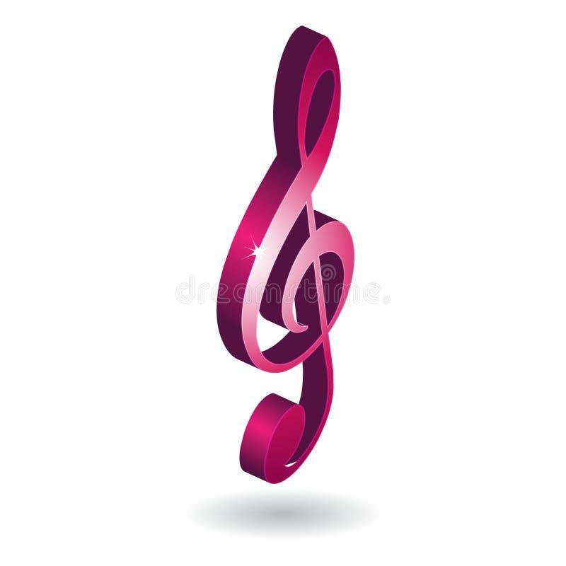 símbolo de la nota de la música 3D ilustración del vector