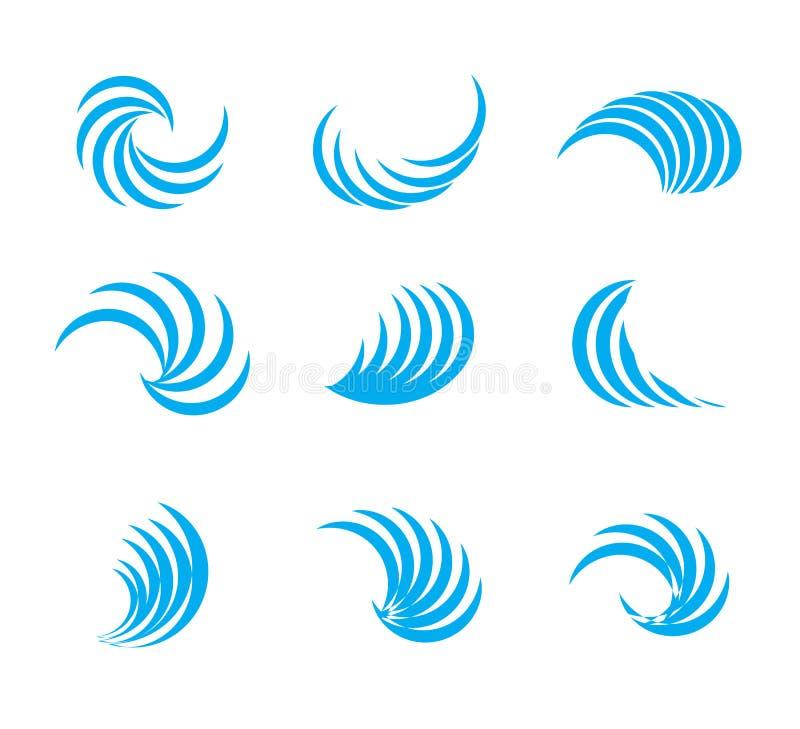 Símbolo de la onda de agua, sistema del icono ilustración del vector