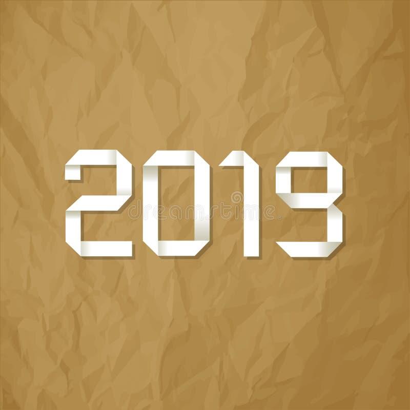 Símbolo 2019 de la papiroflexia en un fondo marrón de papel arrugado libre illustration