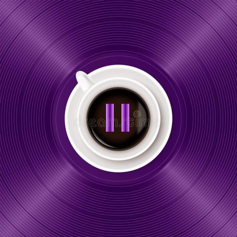Símbolo de la pausa musical y taza de café en fondo púrpura brillante del disco de vinilo El concepto de música y de café libre illustration