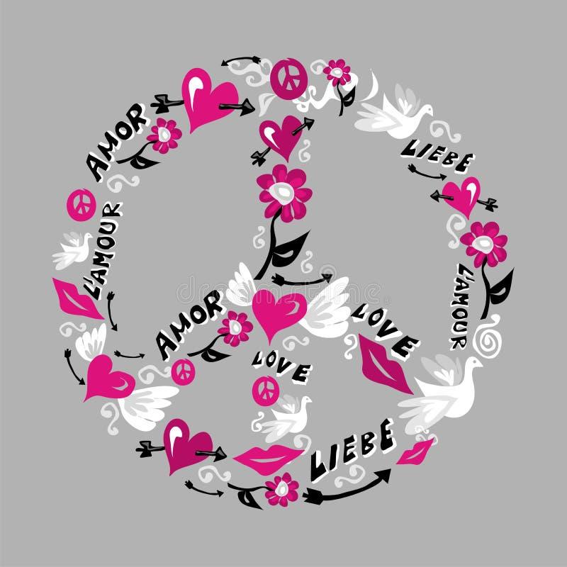 Símbolo de la paz y del amor ilustración del vector