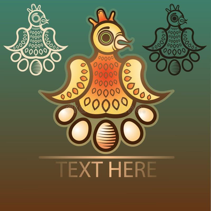 Símbolo de la pendiente del pollo con los huevos imagenes de archivo