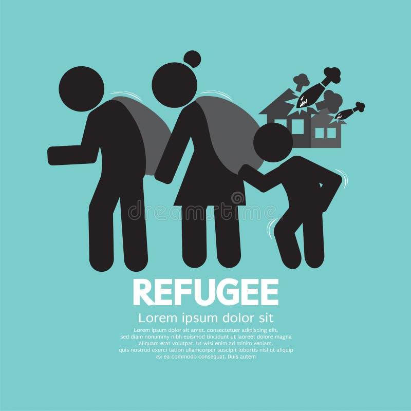 Símbolo de la persona evacuada de los refugiados ilustración del vector