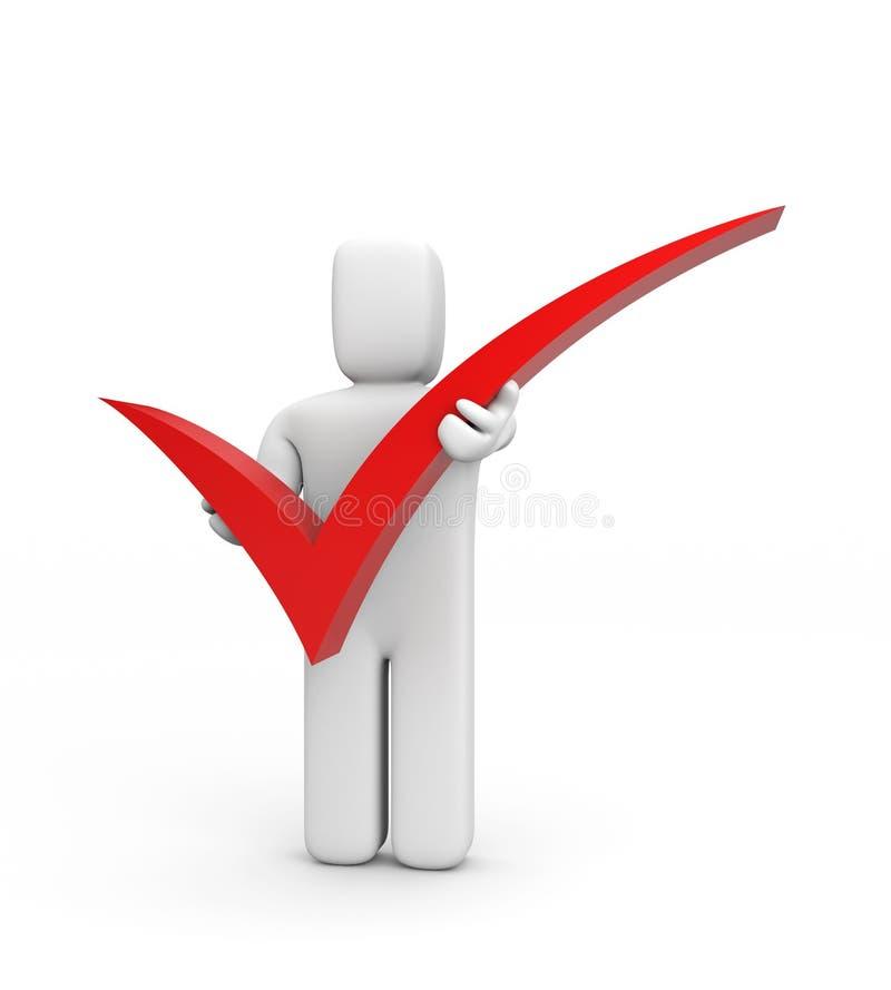 Símbolo de la persona y de verificación stock de ilustración