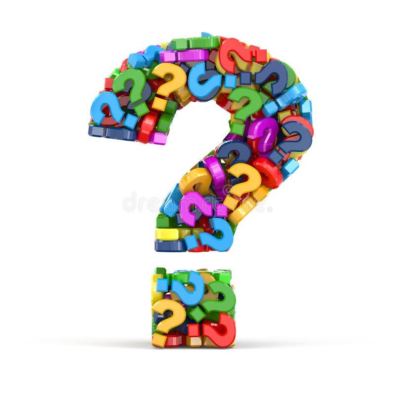 Símbolo de la pregunta en el fondo blanco. Tridimensional ilustración del vector