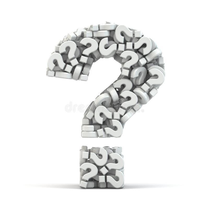 Símbolo de la pregunta en fondo aislado blanco. Tridimensional ilustración del vector