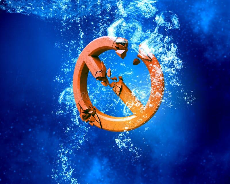 Símbolo de la prohibición debajo del agua fotografía de archivo libre de regalías