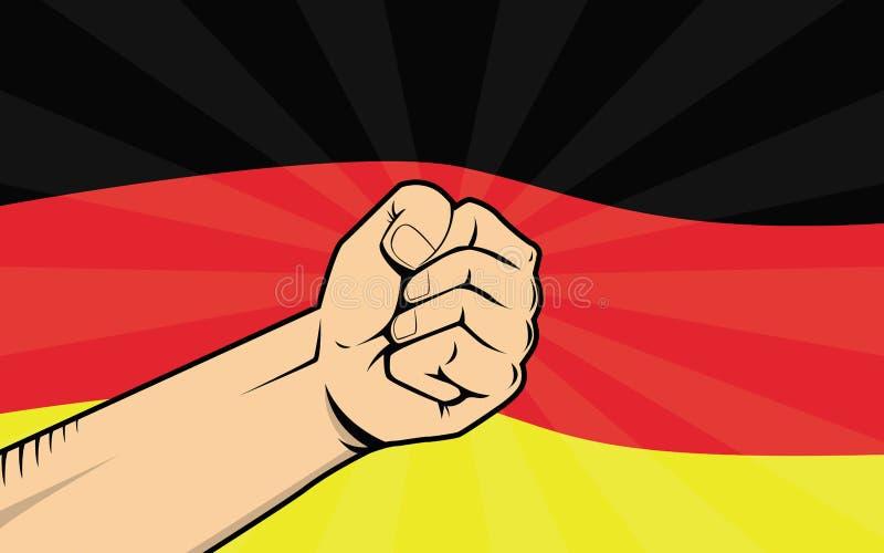Símbolo de la protesta de la lucha de Alemania con la mano y la bandera fuertes como fondo stock de ilustración