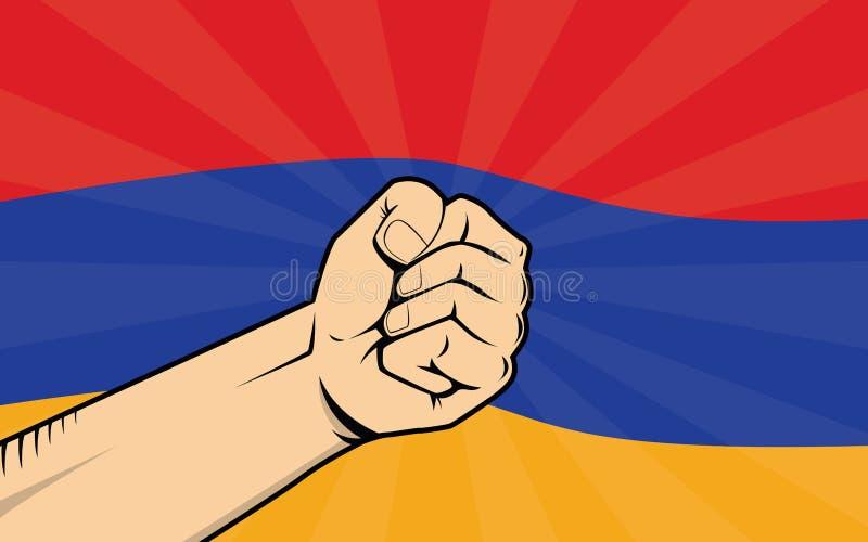 Símbolo de la protesta de la lucha de Armenia con la mano y la bandera fuertes como fondo libre illustration