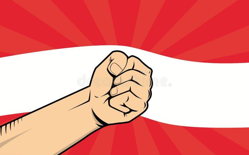 Símbolo de la protesta de la lucha de Austria con la mano y la bandera fuertes como fondo libre illustration