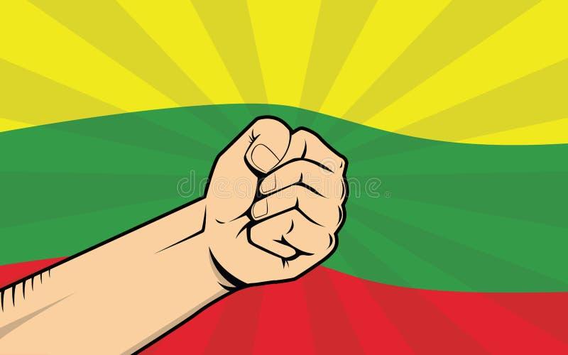 Símbolo de la protesta de la lucha de Lituania con la mano y la bandera fuertes como fondo stock de ilustración